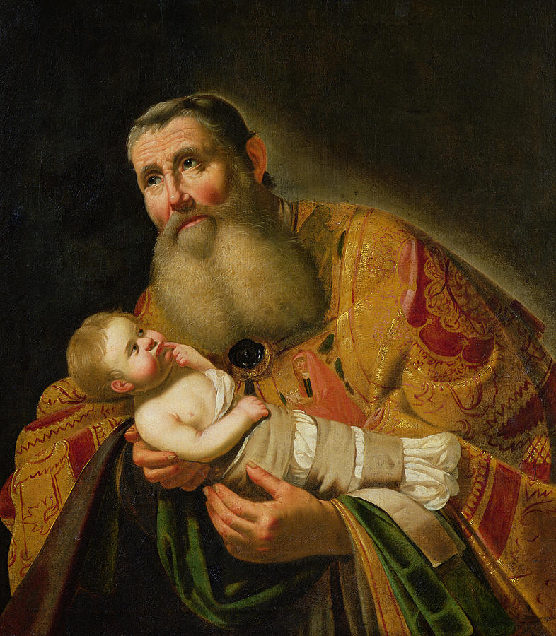 Prophet Painting - St Simeon Presenting The Infant Christ In The Temple  by Jan van Bijlert or Bylert
