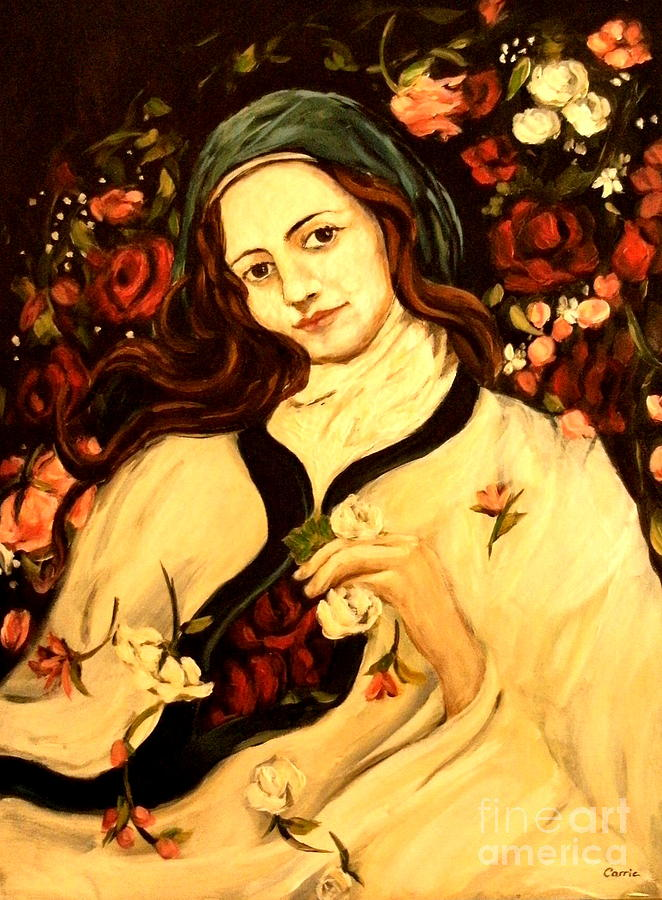 St. Therese Of Lisieux Painting - St. Therese by Carrie Joy Byrnes