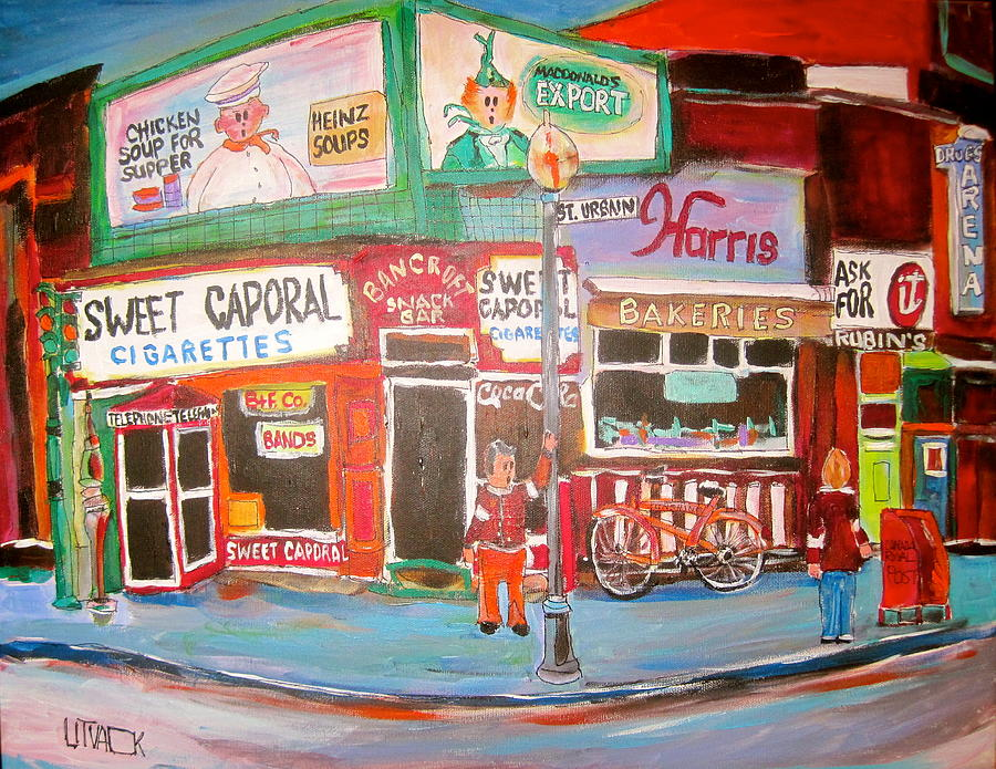 Harris Bakeries Painting - St. Urbain And Mount Royal Montreal Memories by Michael Litvack