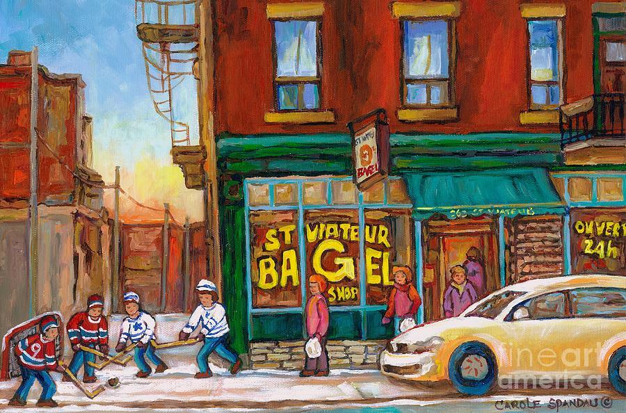 St.viateur Bagel Painting - St. Viateur Bagel-boys Playing Street Hockey In Laneway-montreal Street Scene Painting by Carole Spandau