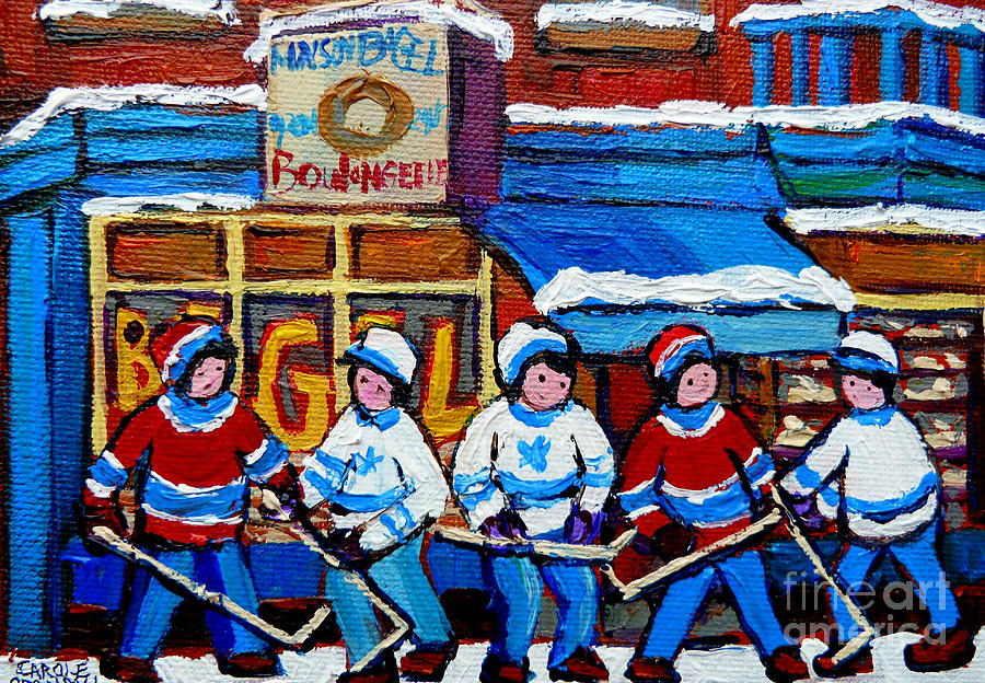 Hockey Painting - St Viateur Bagel Hockey Game Montreal City Scene by Carole Spandau
