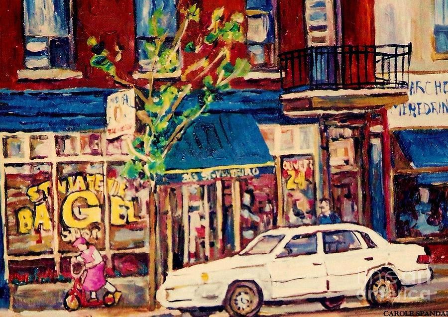 Montreal Painting - St Viateur Bagel Shop Corner Park Avenue Montreal Streetscenes by Carole Spandau