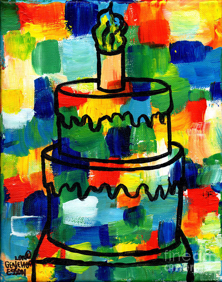 Stl250 Birthday Cake Abstract Painting by Genevieve Esson