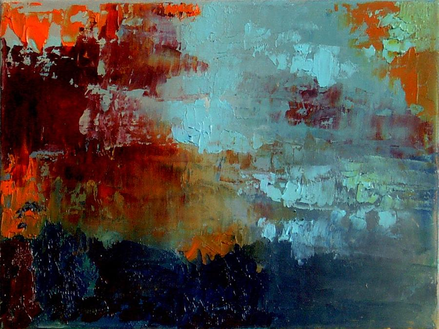 staccato in blue and orange painting by marta zamarska. Black Bedroom Furniture Sets. Home Design Ideas
