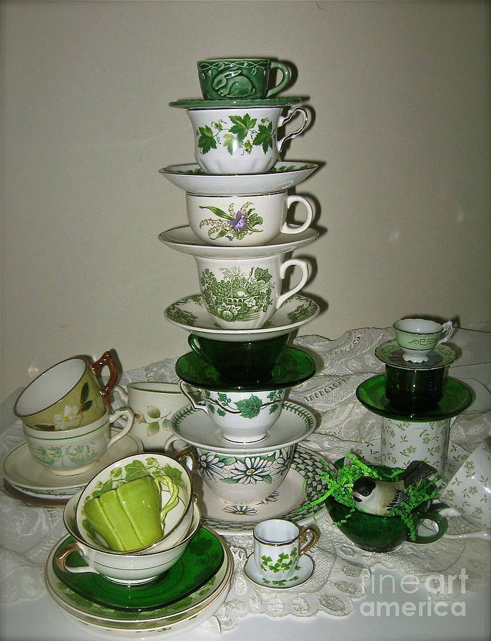 Fine China Teacups And Saucers Photograph - Stack Of Green Teacups  by Nancy Patterson