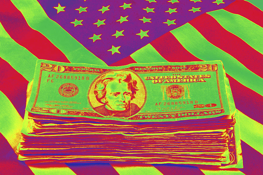 Stack Of Money On American Flag Pop Art Photograph