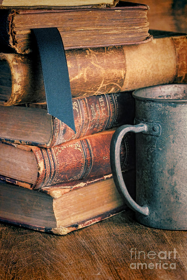 Books Photograph - Stack Of Vintage Books by Jill Battaglia