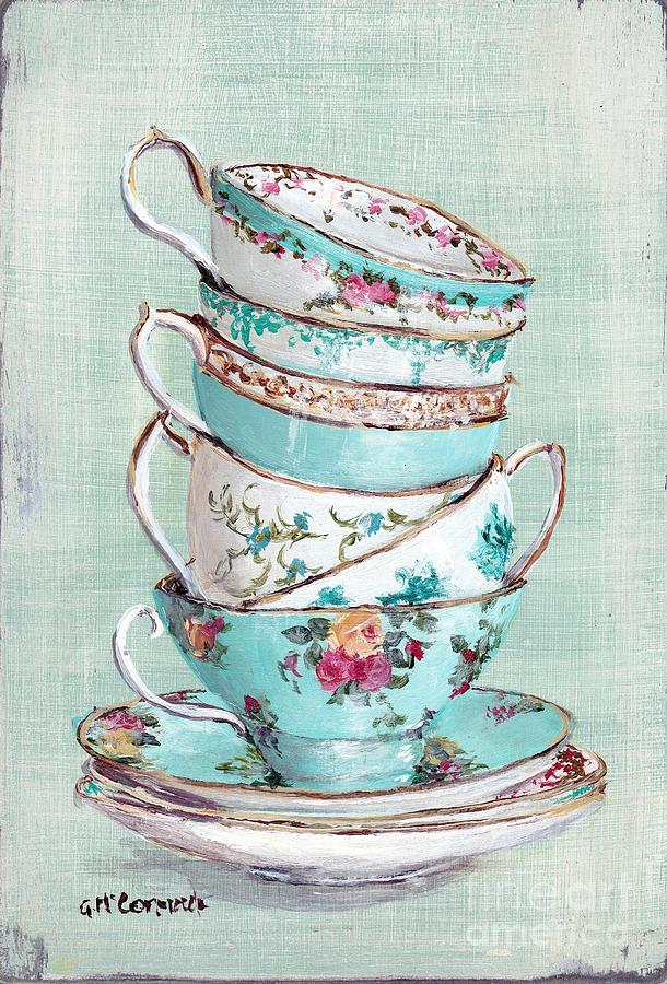 Aqua Themed Tea Cups Painting - Stacked Aqua Themed Tea Cups by Gail McCormack