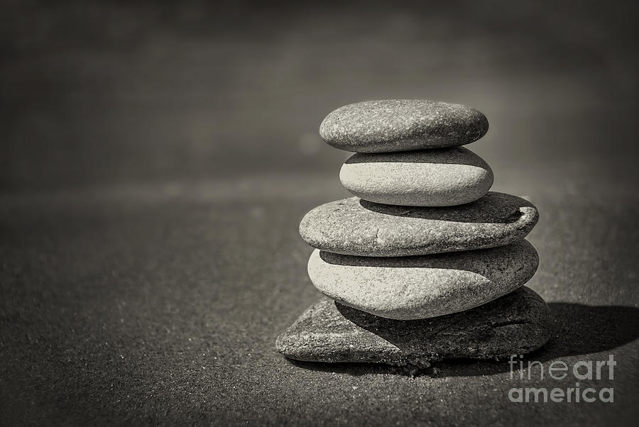 Rock Photograph - Stacked Pebbles On Beach by Elena Elisseeva