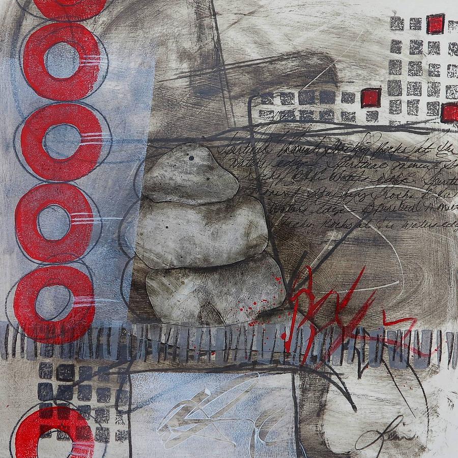 Whites Mixed Media - Stacking Rock Red I by Laura  Lein-Svencner