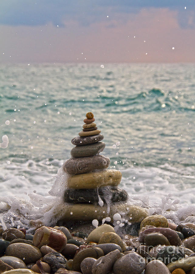 Beach Photograph - Stacking Stones by Stelios Kleanthous