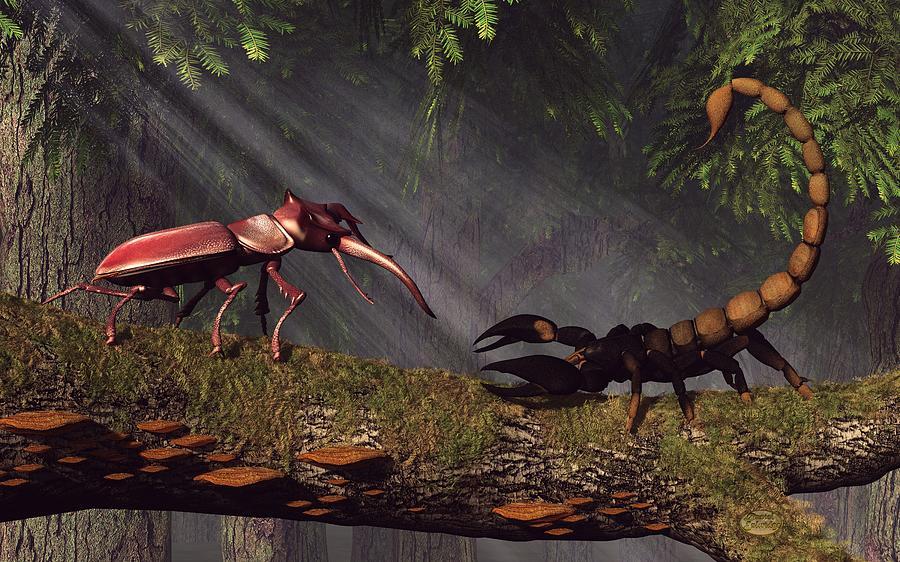 Stag Beetle Digital Art - Stag Beetle Versus Scorpion by Daniel Eskridge