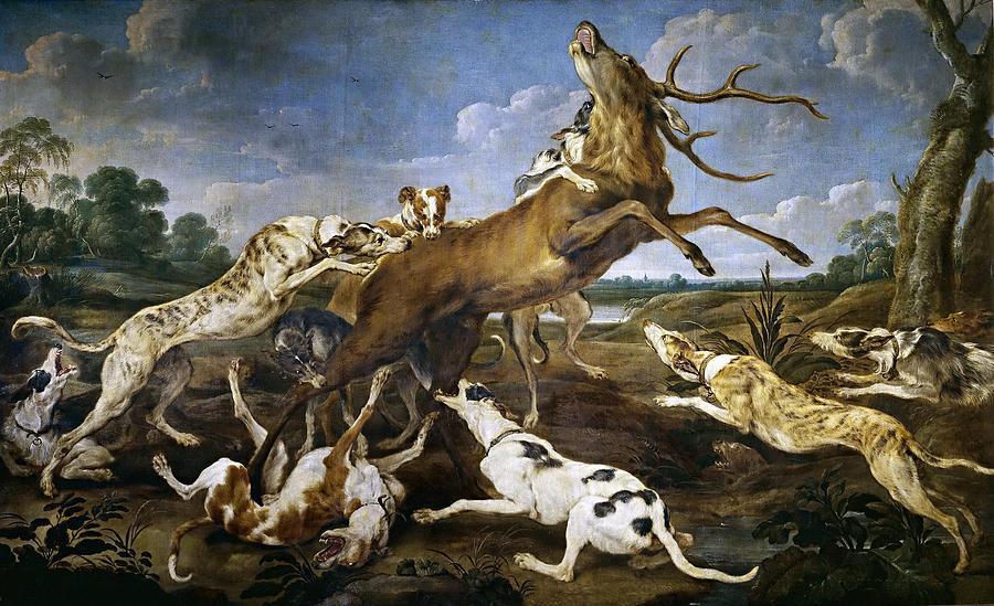 Paul De Vos Painting - Stag Hunt by Paul de Vos