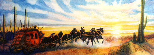 Stagecoach Painting by Beth Gramith