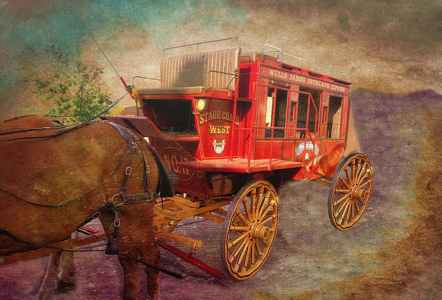 Stagecoach Mixed Media - Stagecoach West Textured by Thomas Woolworth
