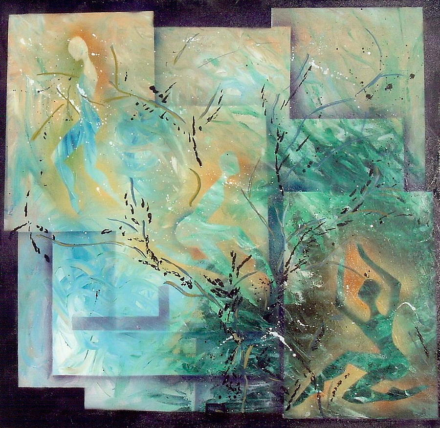 Abstract Painting - Stages In Which Th E Background Becomes Visible by Lorena Fernandez