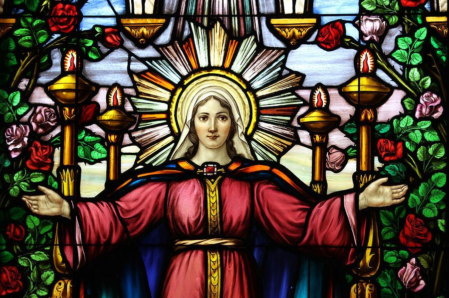 Stain Glass Virgin Mary Photograph by Helen Bobis