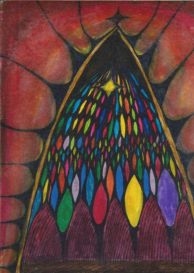 Stain Glass Drawing - Stain Glass Window Drawing by Cim Paddock