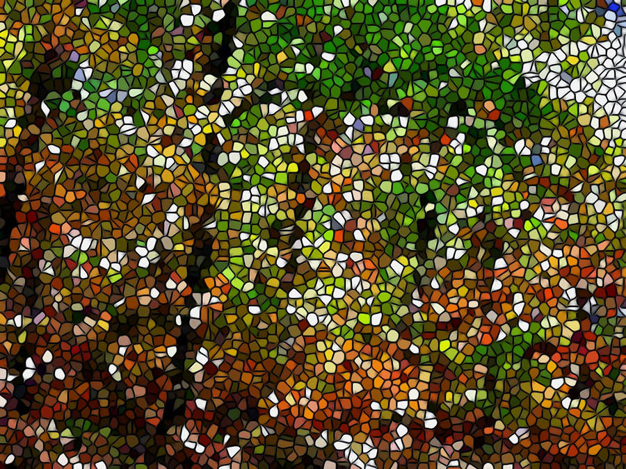 Stained Glass Painting - Stained Glass Autumn Colors In The Forest 1 by Lanjee Chee