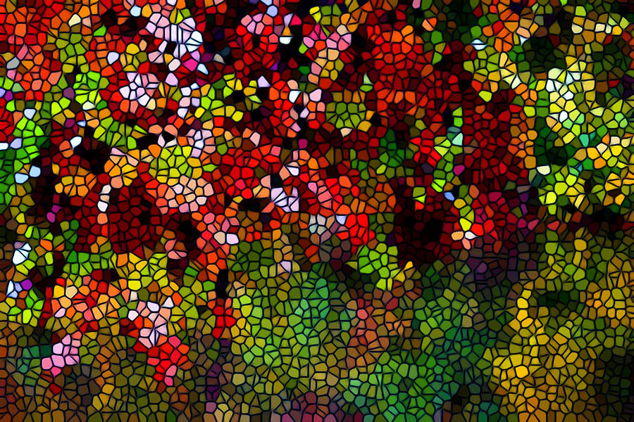 Stained Glass Autumn Leaves Reflecting In Water Painting - Stained Glass Autumn Leaves Reflecting In Water by Lanjee Chee