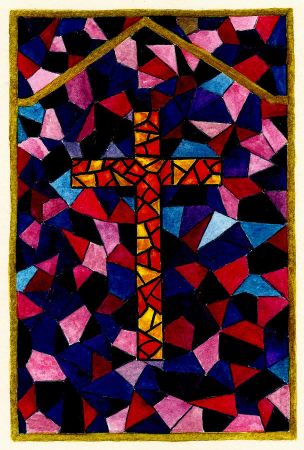 Cross Painting - Stained Glass Cross by Michael Vigliotti