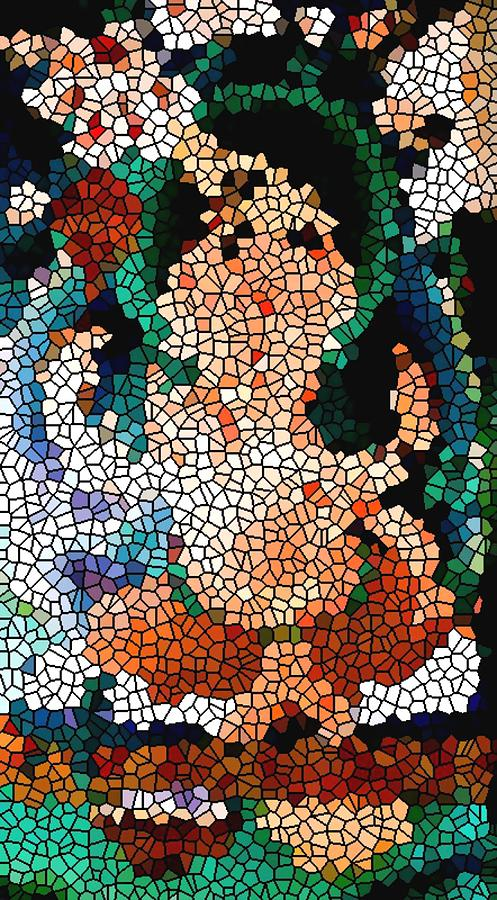 Stained Glass Painting - Stained Glass Ganapati by Lanjee Chee