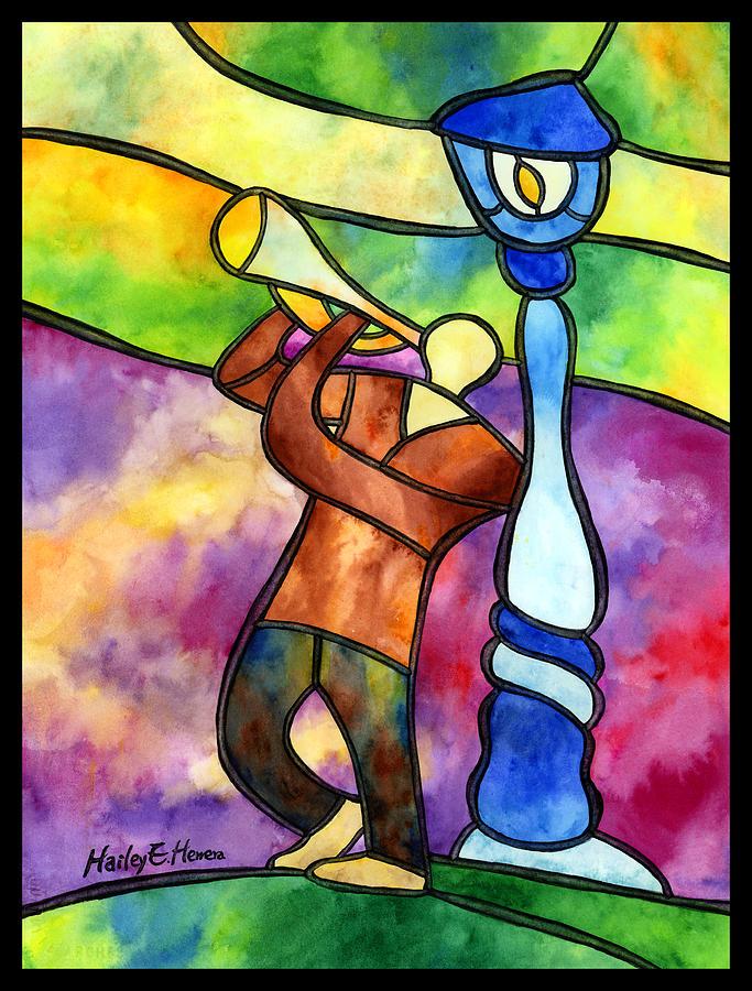 Jazz Painting - Stained Glass Jazzman by Hailey E Herrera