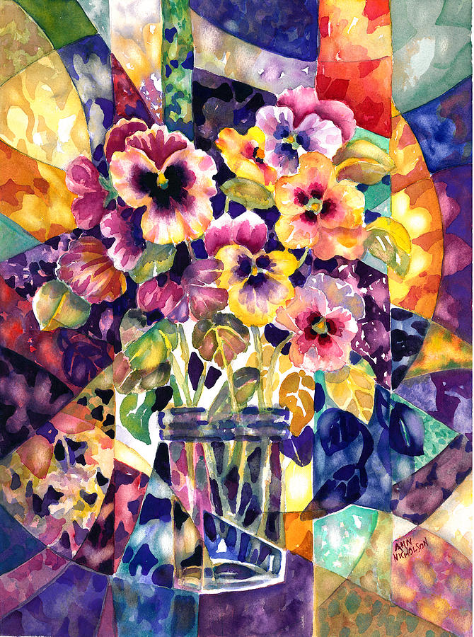Segment Painting - Stained Glass Pansies by Ann  Nicholson
