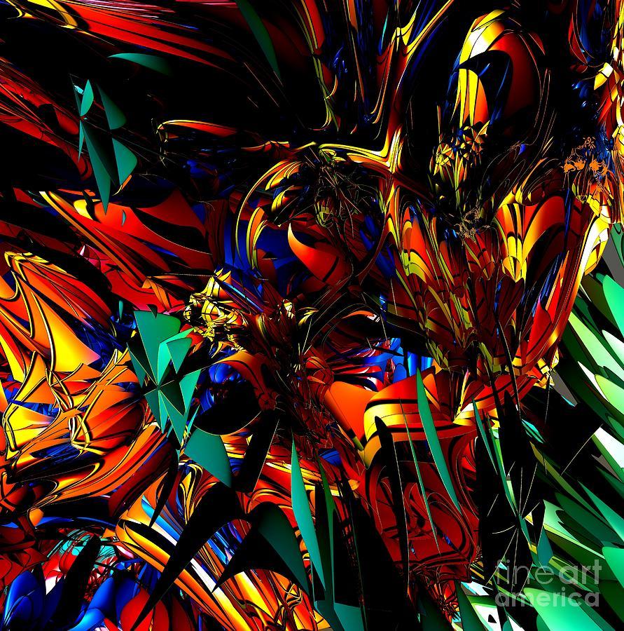 Digital Digital Art - Stained Glass - Saphir by Bernard MICHEL