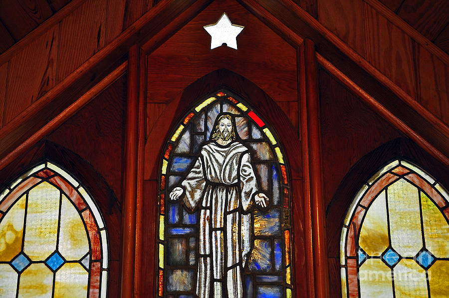 Stained Glass Window Photograph - Stained Glass Saviour by Al Powell Photography USA