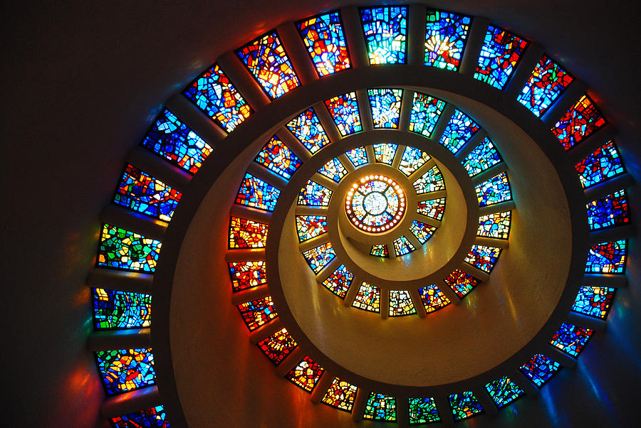 Circle Photograph - Stained Glass Spiral by James Kirkikis
