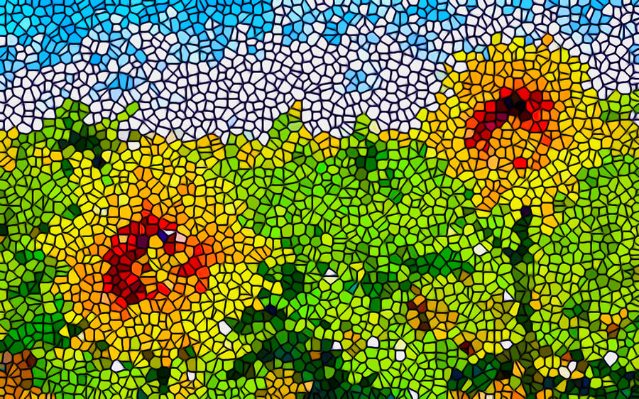 Stained Glass Painting - Stained Glass Sunflowers by Lanjee Chee