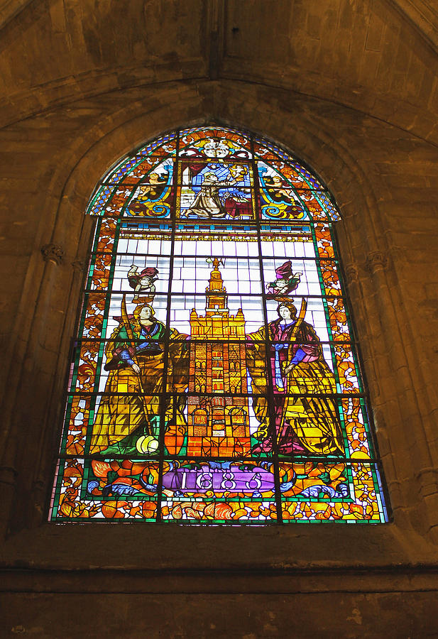 Stained Glass Window Photograph - Stained Glass Window In Seville Cathedral by Tony Murtagh