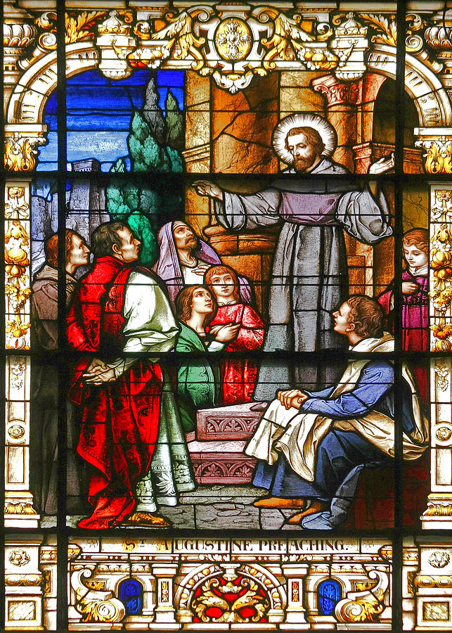 St Photograph - Stained Glass Window Saint Augustine Preaching by Christine Till