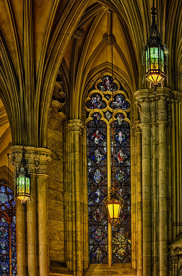American Gothic Revival Photograph - Stained Glass Windows At Saint Patricks Cathedral by Susan Candelario