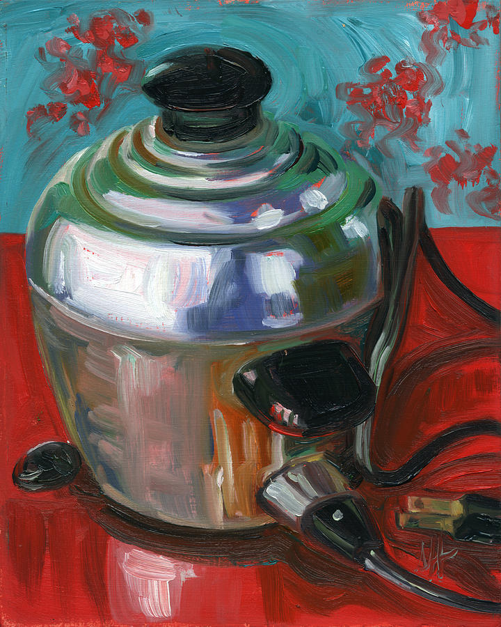 Stainless Steel Painting - Stainless Steel Cooker of Eggs by Jennie Traill Schaeffer