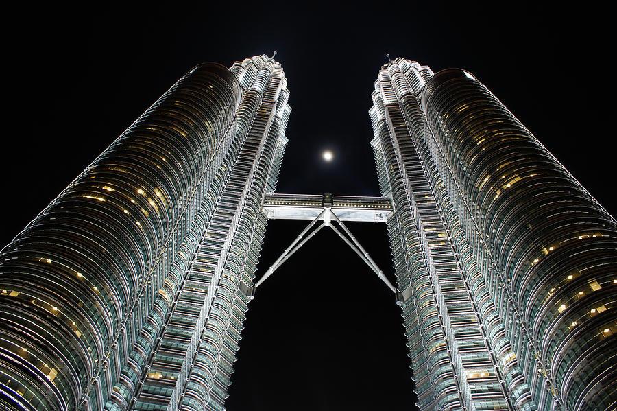 Petronas Twin Towers Photograph - Stainless Steel Moon by Georgia Mizuleva