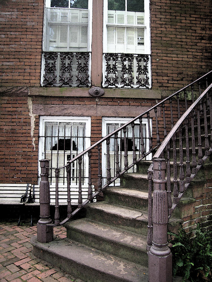 Staircase Photograph - Staircase And Shutters by Linda Ryan