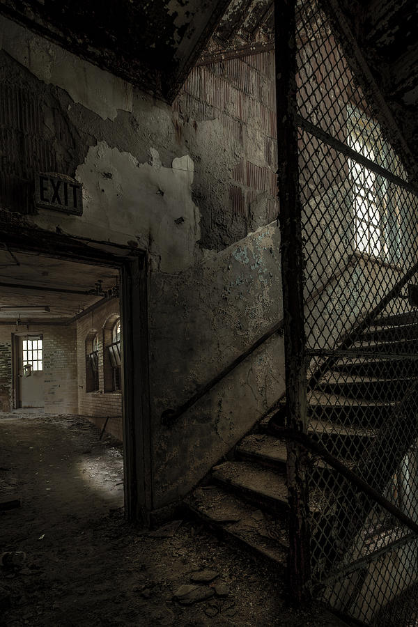 Old Stairs Photograph - Stairs And Corridor Inside An Abandoned Asylum by Gary Heller
