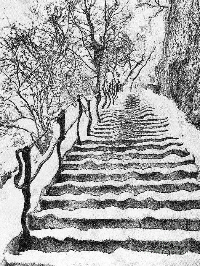 Budapest Painting - Stairs In Winter by Odon Czintos