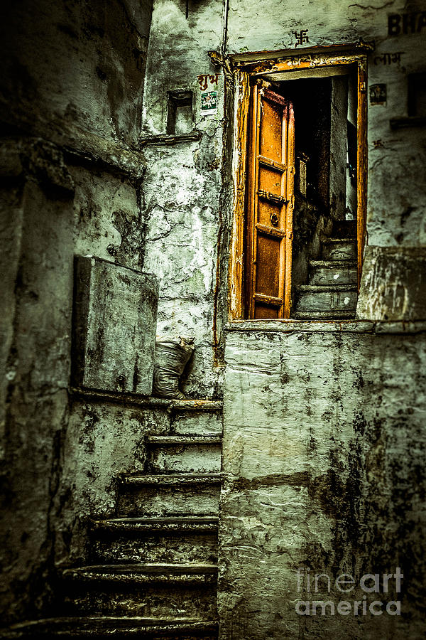 India Photograph - Stairs Leading To The Old Door by Catherine Arnas
