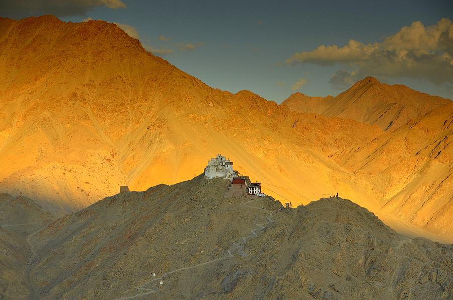 Monastery Photograph - Stairs To Tsemo by Aaron Bedell