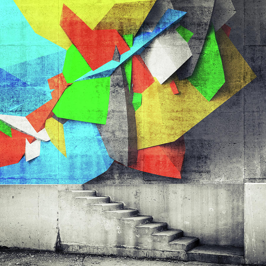 Stairway And Abstract Graffiti Fragment Photograph by Evgeny Sergeev