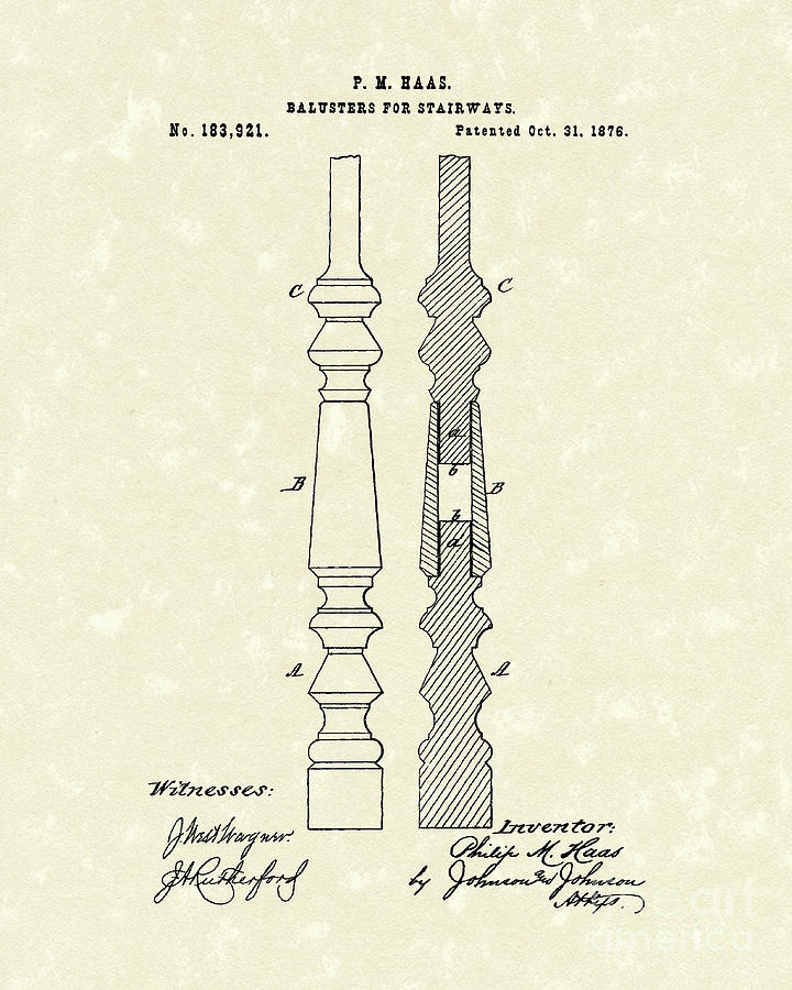 Haas Drawing - Stairway Baluster 1876 Patent Art by Prior Art Design