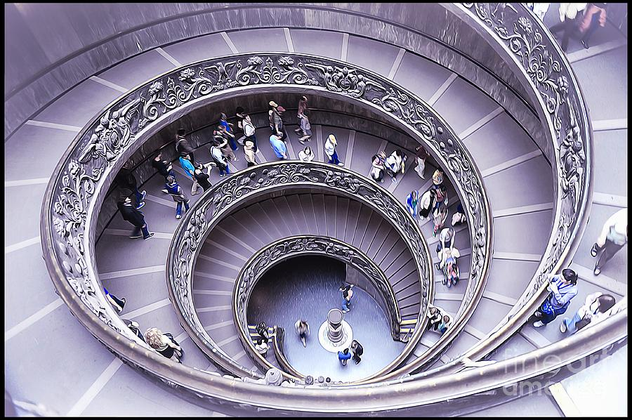 Vatican Museums Interiors Painting - Stairway In Vatican Museum by Stefano Senise