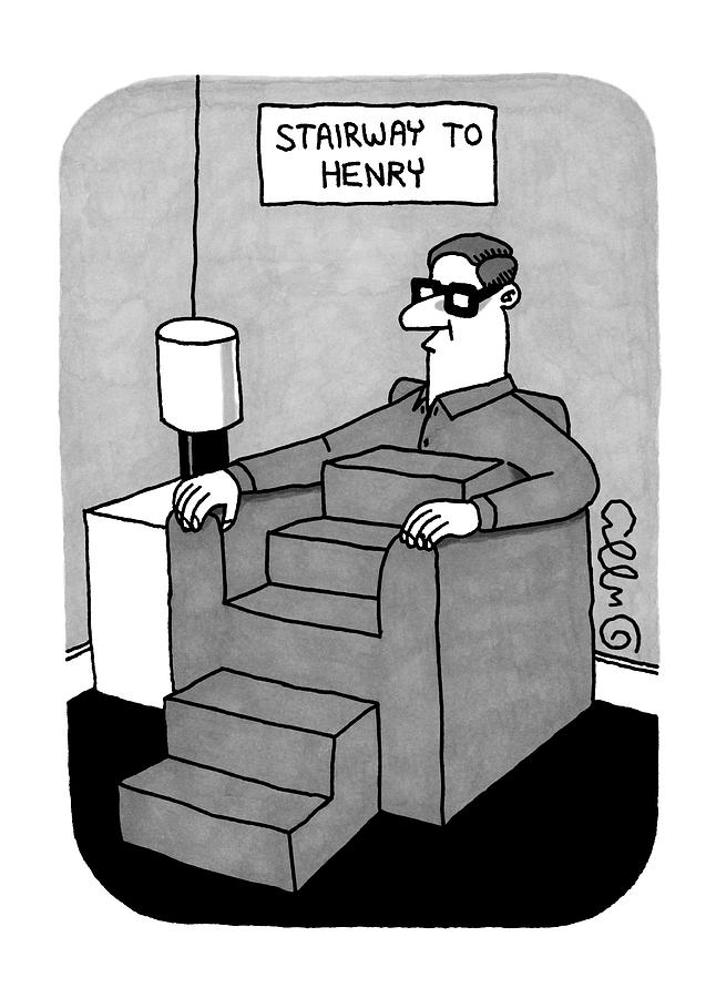 Stairway To Henry -- A Man Sitting In A Sofa Drawing by J.C.  Duffy
