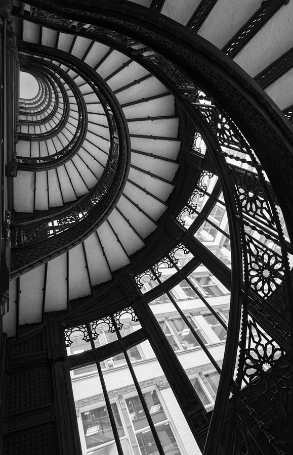 Rookery Photograph - Stairwell The Rookery Chicago IL by Steve Gadomski