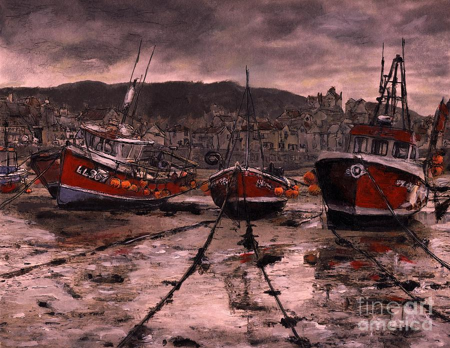 England Painting - Staithes at Low Tide by Randy Sprout