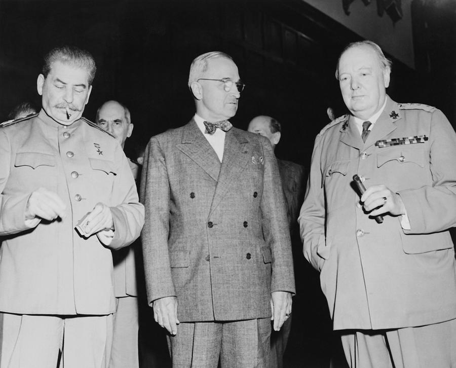 Harry Truman Photograph - Stalin Truman And Churchill  by War Is Hell Store