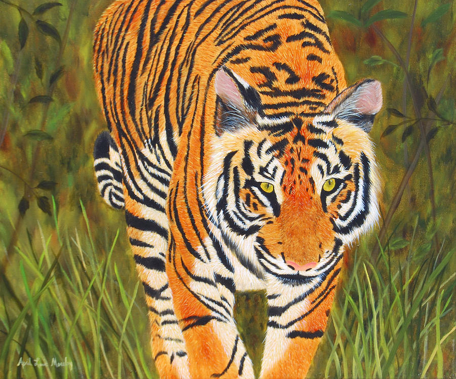 Tiger Painting - Stalking Tiger by April Moseley